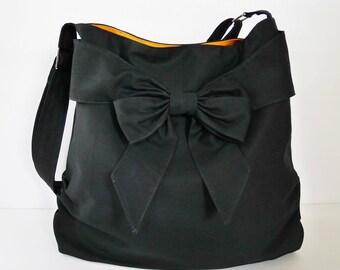 Sale - Black Canvas Bag, tote, handbag, messenger bag, purse, bow, shoulder bag, crossbody bag, unique - JESSICA