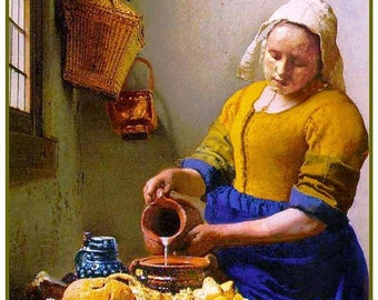 GREAT SALE The Milkmaid inspired by Dutch Artist Johannes Vermeer Counted Cross Stitch Chart
