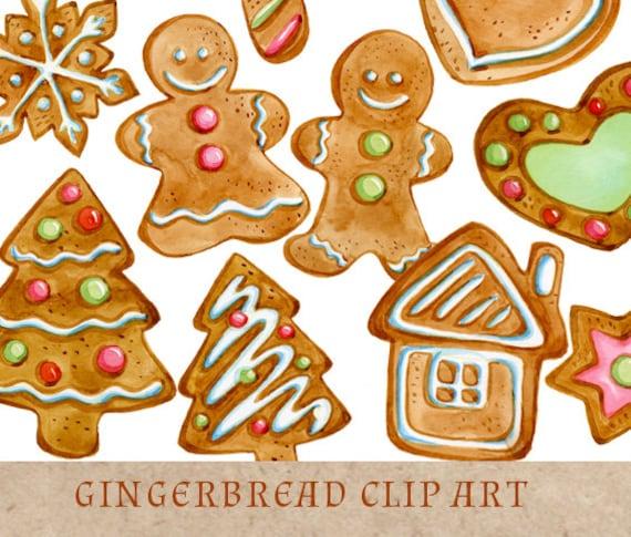gingerbread cookies clipart christmas clip art gingerbread rh etsy com christmas cookies clipart black and white christmas cookies clipart free