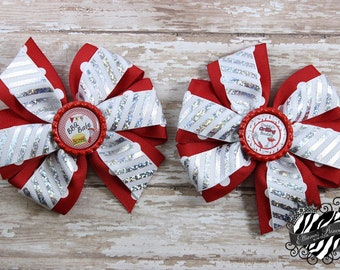 Red Pigtail Hair Bows - Hair Bow Sets - Red Silver White Hair Bows - Summer Bows - Toddler Hair Bows - Girls Hair Bows - 4 Inch Hair Bows