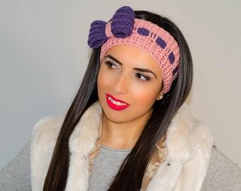 Pink bow headband, crochet bow headband, womens knit headband, headband with bow, bow headwrap, ribbon headband, winter headband