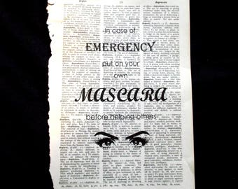 Mascara Emergency Dictionary Art Print Book Page Art Home Decor Cosmetics Humor Dressing Room, Eyelashes