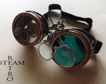 Steampunk Goggles Glasses AVIATOR cyber gothic welder glasses steampunk accessories madmax goggles with loupe green - goggles - steampunk