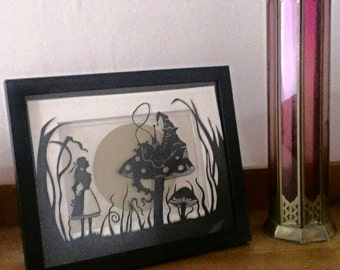 Who are you? Alice in Wonderland - Original hand-made papercut artwork.