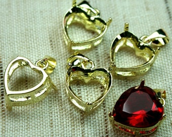 4 pcs 11x12mm Gold Plated Heart Open Back Prong Jewel Settings with Bail -ST-611GP