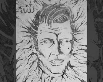 Ash Williams - Original Pencil Drawing // Evil Dead // Army of Darkness // Bruce Campbell // Necronomicon // Horror Movies // Detroit
