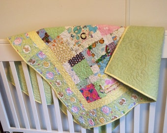 Baby Quilt, Gender Neutral, Greens and Yellows, Hand made with love.