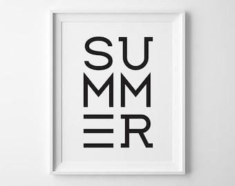 Modern Summer Poster, Modern Beach Decor, Surf Art, Black and White Art Print Minimalist Decor, Modern Cottage Decor Beach House Minimal Art