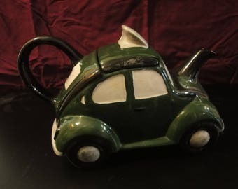 Original CarltonWare VW Black & Green Taxi Beetle Teapot In Immaculate Condition