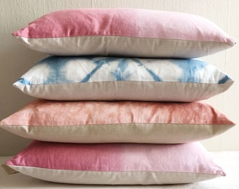 SALE: Linen Dip Dye  Lumbar Pillow Cover Ombre Dusty Rose and Sangria