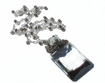 Espresso Bi-Color Quartz Emerald Cut Pendant / Smoky Quartz / Sterling Silver / Wire Wrapped / Necklace / Gifts for Her / Brown / OOAK
