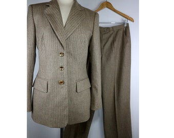 Escada Italy Wool Pinstripe Suit