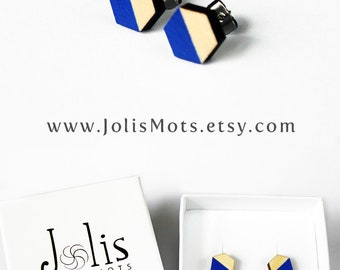navy blue earring, graduation gift, gift for her, geometric wooden jewelry, scandinavian design, wooden earrings, ear studs, wooden jewelry