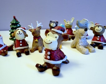 Cute Mini Christmas Statues for the tree or house decor. Party stockings santa reindeer polar bear winter holiday ornaments festive hat bell