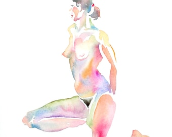 Original Watercolor, 25% OFF SALE! nude, seated, woman, frontal, profile, elegant, unframed, art, wall art, home decor, poise, beauty, gift