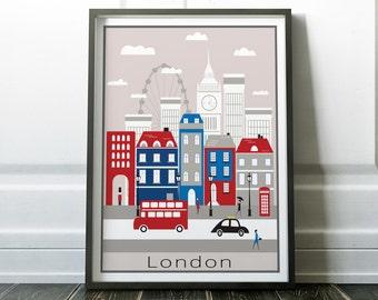 Wall Art, London Poster, Prints, London Print, Wall Art Print, Travel Poster, Travel Wall Art, Travel Print, London Art, London, Minimalist