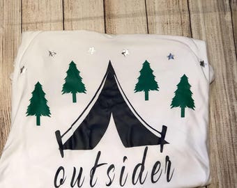 Outsider/ outside/ camping shirt/ tents/ trees/ stars/ outdoors/rv/trailer