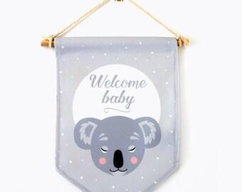 Banner, welcome baby, panda, wall decor, baby's room, nursery decor