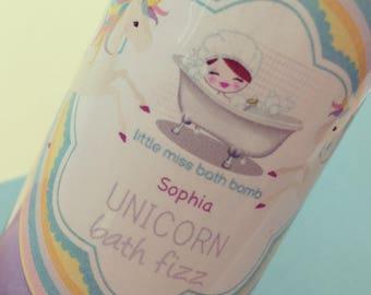 PERSONALISED Unicorn Bath Fizz - Unicorn Themed Bath Gift