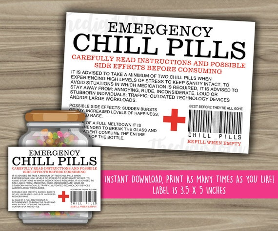 Playful image with chill pill printable labels