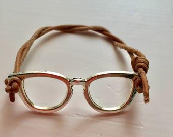 Eyeglass Bracelet with Leather Band