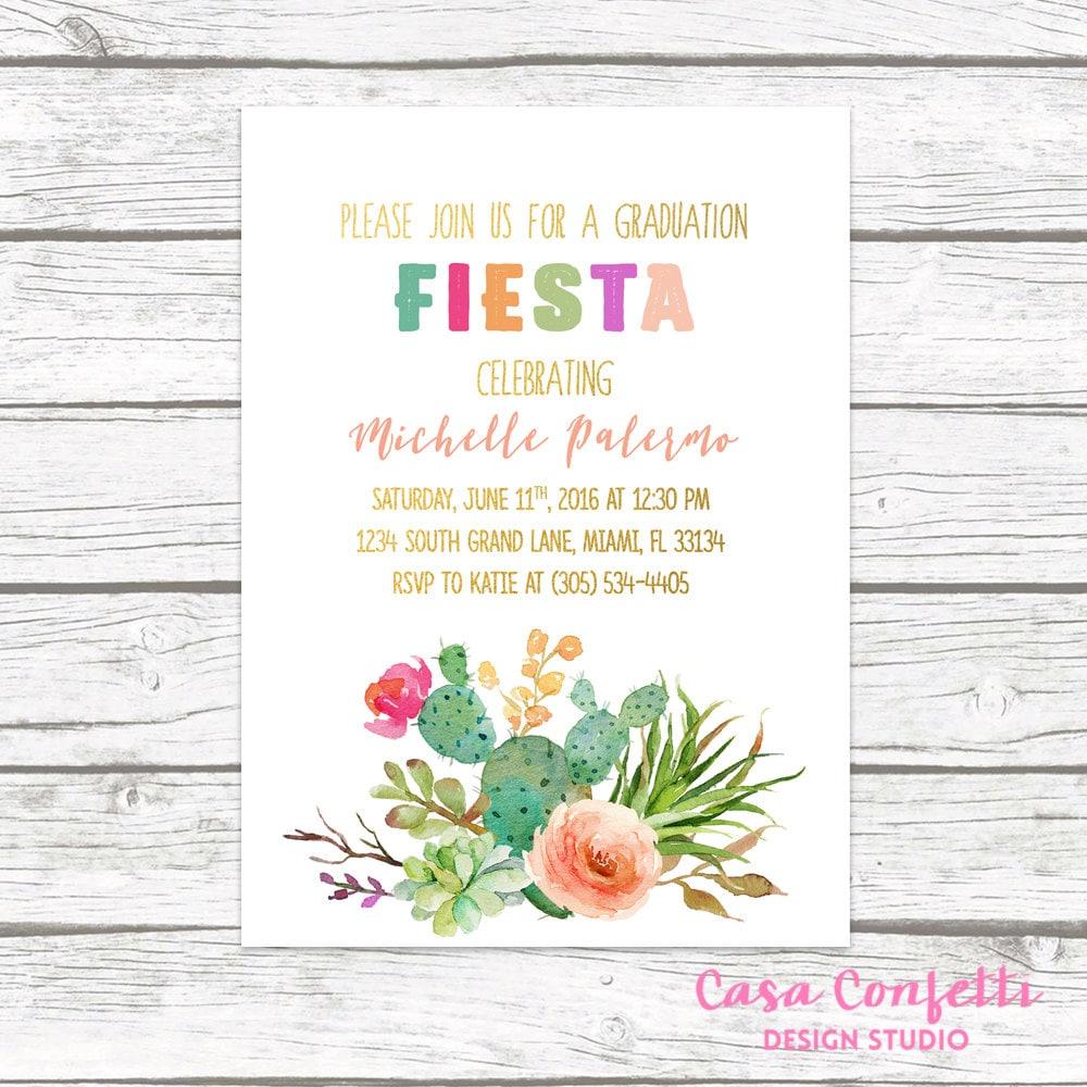 Fiesta Graduation Invitation, Cactus Graduation Invitation ...