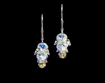 Swarovski Crystal Cluster Earrings, Aurora Borealis Crystals, Crystal Ab, Feminine Earrings, Sparkly Earrings, Bridal Earrings