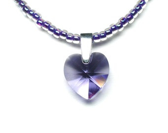 Tanzanite crystal heart pendant on beaded necklace, Swarovski crystal, seed beads, sterling silver bail, sterling silver clasp