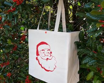 Holiday Tote Bag, Retro Santa, Free Shipping, Christmas Gift Bag, Canvas Tote Bag, Santa Claus, Christmas Tote bag, Holiday Bag