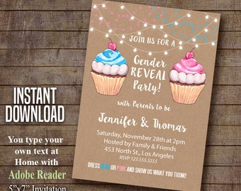 Gender Reveal Invitation, cupcake gender reveal party, Instant Download Self Editable PDF file A509