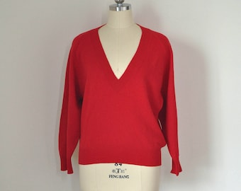 vintage 80s ANNE KLEIN women bright red wool pullover sweater, size US M, made in Japan