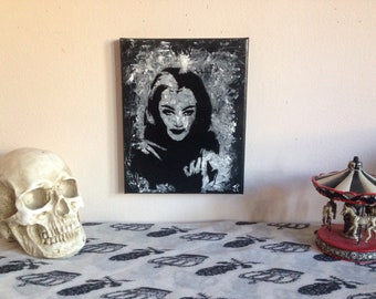 Original lily munster acrylic painting/ horror wall art/ horror wall decor