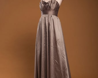 pleated sweetheart origami evening gown formal dress shimmer mocha brown empire WTOO extra small XS