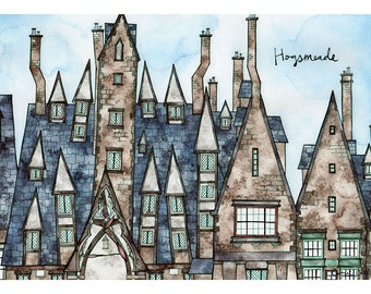 HOGSMEADE VILLAGE Print 11X14 Ink and Watercolor Painting
