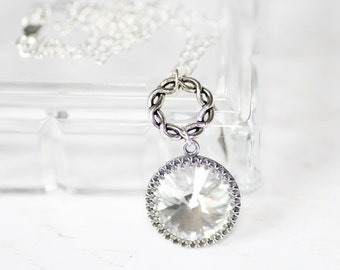 Celtic Eternity Necklace with Diamond Swarovski Crystal on Sterling Silver Chain