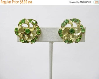 On Sale Vintage Lime Green Rhinestone Earrings Item K # 1088
