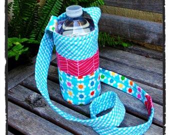 Water Bottle Holder - Aqua Gingham (#500)