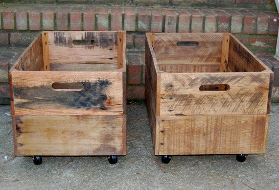 Wooden Crates/ Large/ Rolling/ Reclaimed Wood/ Set Of Two Crates