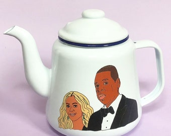Beyonce and Jay Z Enamel Illustrated Teapot - Limited Edition!