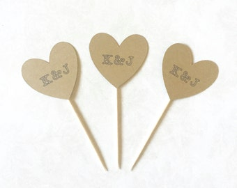 Custom Initial Heart Toppers - Kraft Toppers, Custom Initials, Wedding Decor, Bridal Shower Toppers, Cupcake Toppers