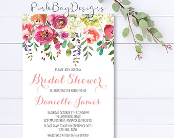 Floral Bridal Shower Invitation, Watercolor Floral Bridal Shower Invite, Bridal Shower Invitation, Pink Floral Shower Invite, Shower Invite