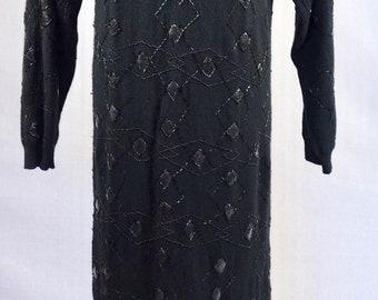 Maxi,long dress,sweater dress,beaded,embellished ,winter,lambswool,wool,angora, 1980s,80s, long sleeves,grunge,day wear,evening
