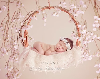 Digital backdrop background off  white pink blossoms newborn baby  girl