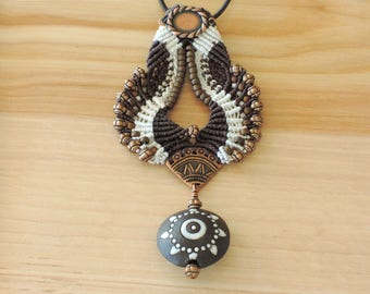 Brown Golem Bead Micro-macrame Necklace, brown, copper, white, boho, western