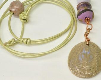 Yoga Lotus Position Necklace, Long Yoga Necklace, Ceramic Yoga Pendant on Leather Cord, Adjustable Lotus Necklace, Graduation Gift for Yogi