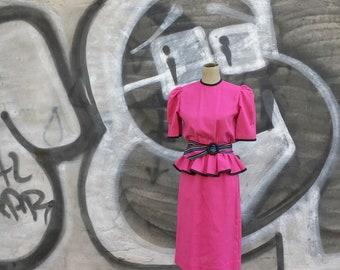Vintage 1980s Hot Pink Belted Peplum Waist Dress (Size Small/Size 6 Women)