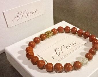 """Bracelet For Men Red Jasper, Rock Quartz Crystal & Gold plated Copper """"The Secret to Self Fulfillment"""" Handmade"""