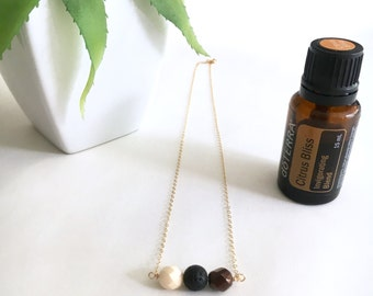 Lava Bead, Bar Necklace, Essential Oil Diffuser, Aromatherapy Necklace, 14kt Gold Fill