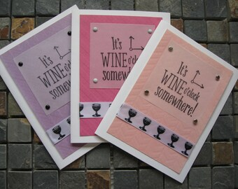 it's wine o'clock somewhere blank inside cards