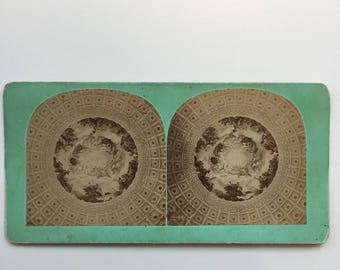 Vintage 1890s Stereograph of painted cathedral ceiling